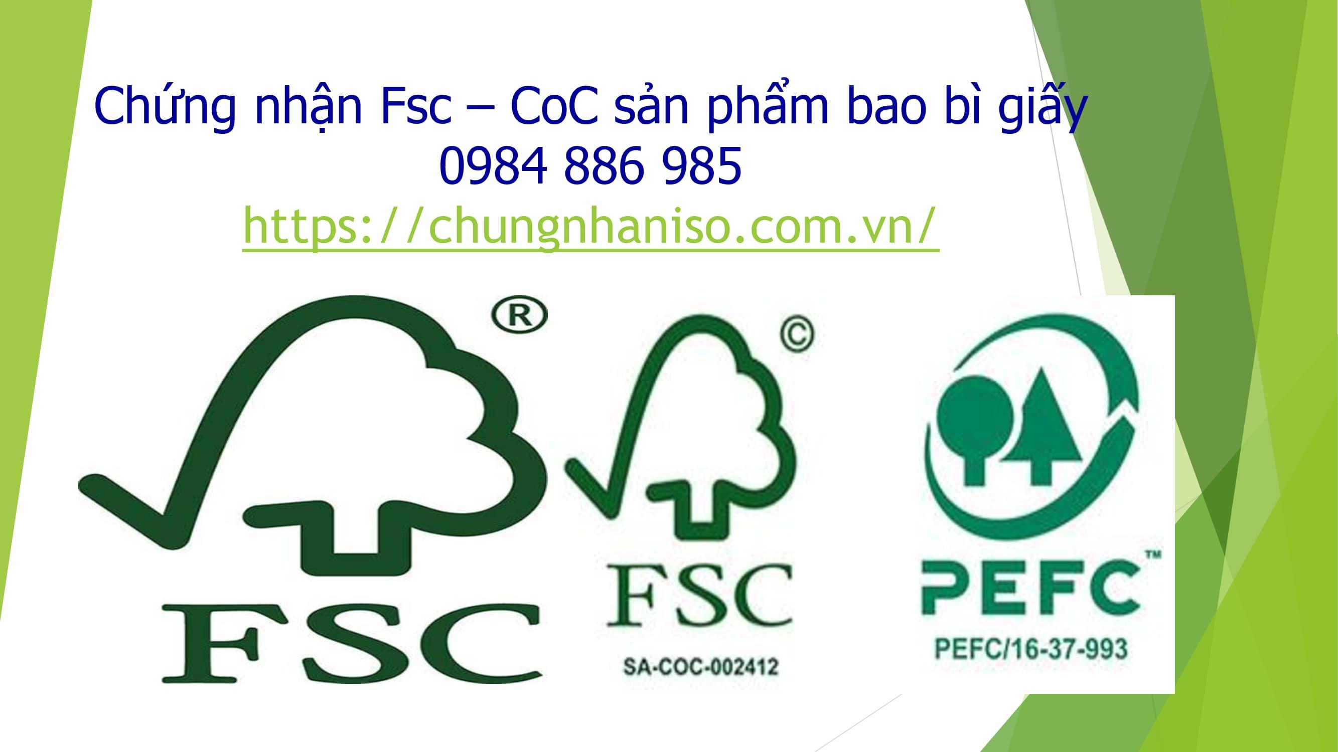 Chứng nhận Fsc coc sản phẩm bao bì giấy