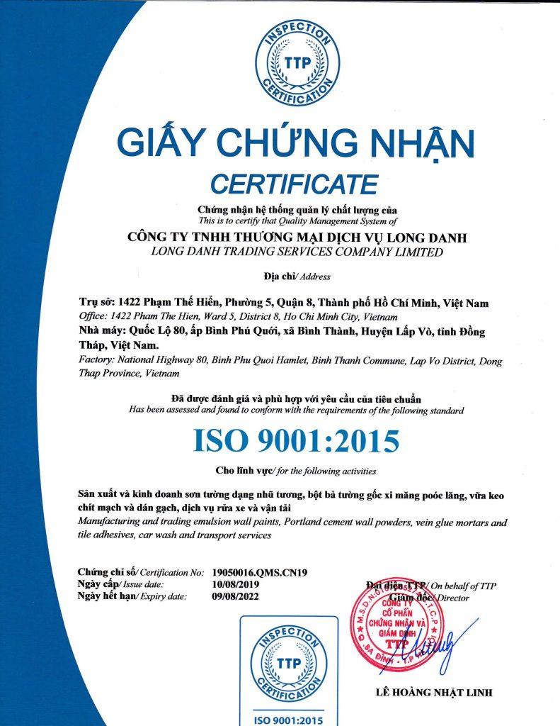 Chứng nhận ISO 9001 Công ty Long Danh